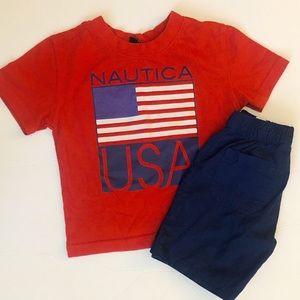 Nautica   Americana USA Flag Shirt & Shorts Set